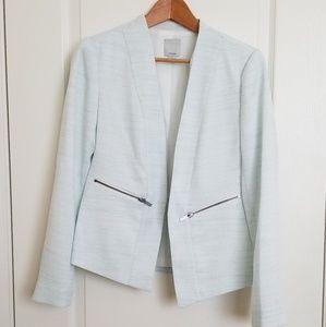 Halogen pastel blue, open-front blazer